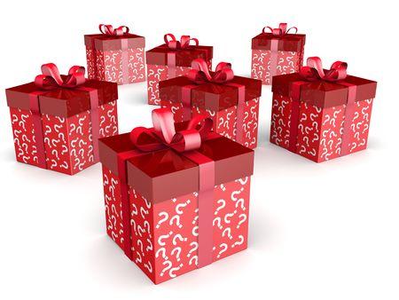 trekken: Mystery gift en verrassing concept geschenk doos met vraag teken patroon Stockfoto