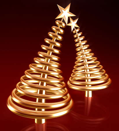 Abstract golden christmas tree in red background 3d illustration illustration