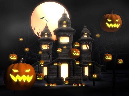 3d scary: Halloween misty night at castle 3d illustration