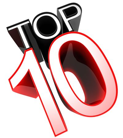 listing: Top 10 sign symbol 3d illustration Stock Photo