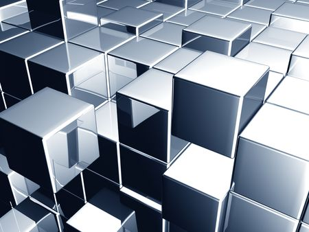 metalic: Metallic blue cube dynamic background 3d illustration