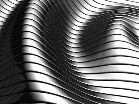 concave: Aluminum abstract silver wave pattern background 3d illustration