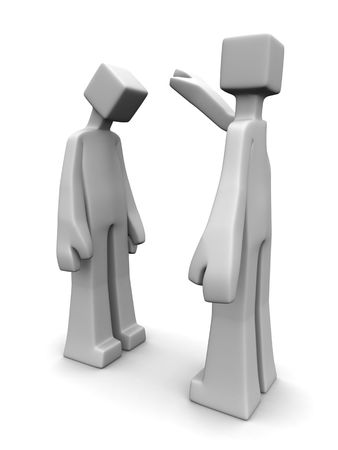Man blessing another man 3d illustration white background Stock Photo