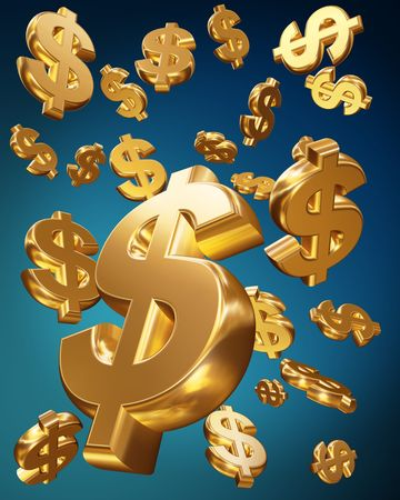 Golden usd dollars falling money concept 3d illustration