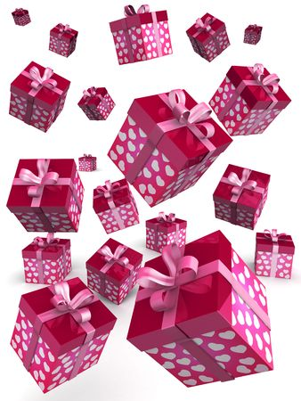 Valentine day concept gift box falling with heart shape pattern 3d illustration