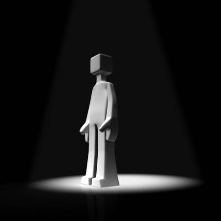 sported: Man on spot light concept 3d illustration
