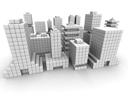 commercial real estate: Negocio de bienes ra�ces comercial construcci�n forma por ilustraci�n 3d de cubo aislado