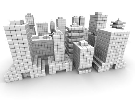 Real estate business commercial building form by cube 3d illustration isolated illustration