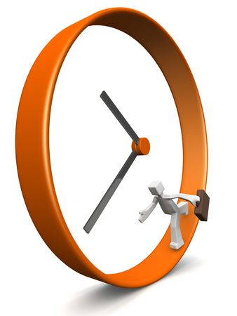 Businessman carrying briefcase run around a clock 3d illustration