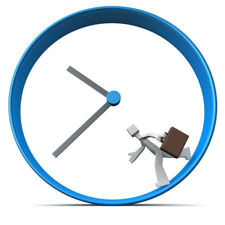 zeitarbeit: Gesch�ftsmann Durchf�hrung laufen herum eine Clock 3d abbildung Aktenkoffer
