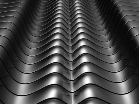 Abstract silver aluminium curve stripe background 3d illustration Stock Illustration - 8032261