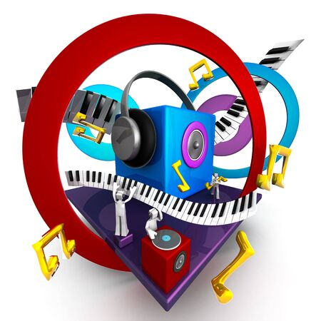Colorful musical world stage with speaker piano 3d illustration illustration