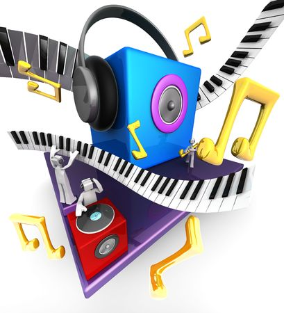Colorful musical world stage with speaker piano 3d illustration Stock Illustration - 8118054