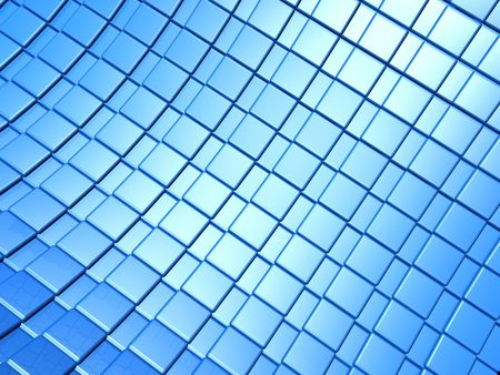 reiteration: Metallic blue square pattern background 3d illustration