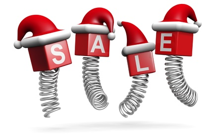 christmas savings: Christmas sales and promotion concept jumping with spring 3d illustration