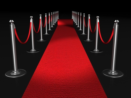 Red carpet night conept with fence 3d illustration illustration