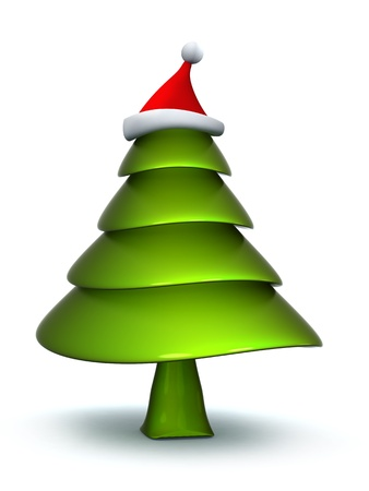 Abstract christmas tree with stanta hat 3d illustration Stock Illustration - 8285415