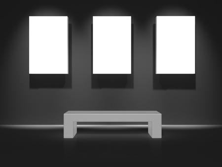 Gallery hall concept white space for artwork 3d illustration illustration