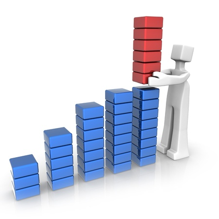 growth: Businessman placing growth performance bar chart 3d illustration Stock Photo