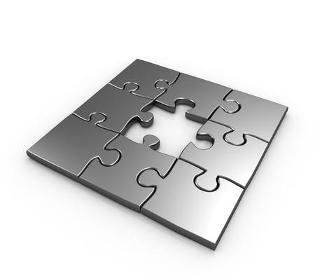 missing piece: Falta de pieza de puzzle aislado ilustraci�n 3d