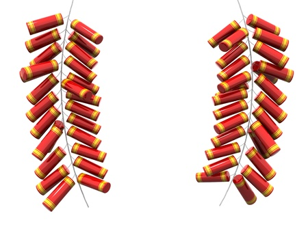 Fire cracker fo chinese new year isolated 3d illustration Standard-Bild