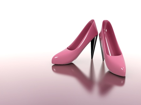 A pair of red womens high-heel with reflection 3d illustration