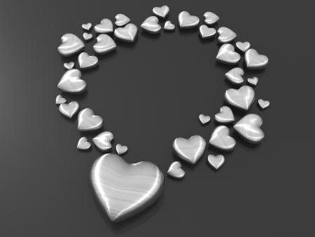 bodas de plata: Metal de plata de la forma de amor organizar como ilustraci�n 3d de forma de collar Foto de archivo