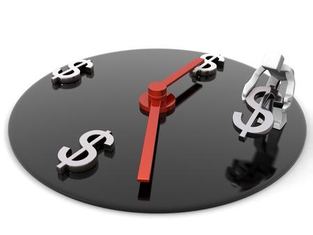 ingresos: El tiempo es el s�mbolo de d�lar puesta de trabajador de concepto de dinero representa la ilustraci�n 3d de tiempo Foto de archivo