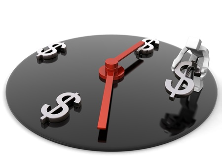 Time is money concept worker placing dollar symbol represents time 3d illustration