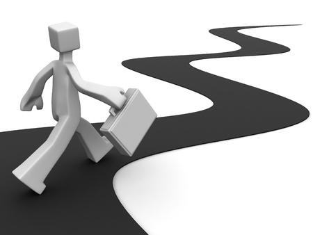 objetivo: Empresario llevando el maletín a pie hacia el éxito de ilustración 3d