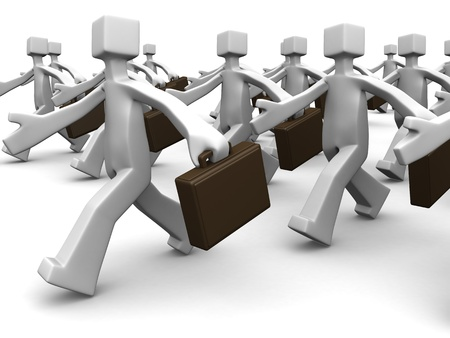 corporation: Group of businessman walk toward same direction 3d illustration