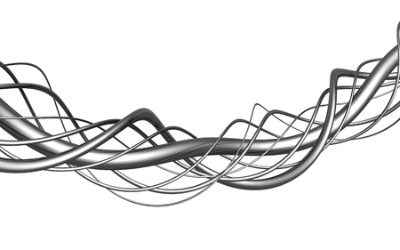 metal composition: Aluminum abstract string artwork isolated background 3d illustration Stock Photo