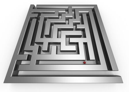 adventurer: Lost in the maze concept 3d illustration isolated Stock Photo
