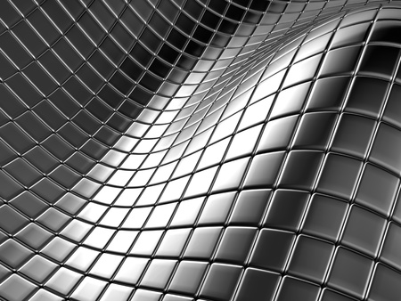 distort: Abstract aluminium silver square background 3d illustration  Stock Photo