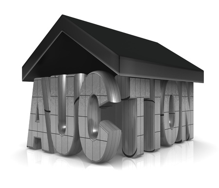 Auction word with a roof property acution concept 3d illustration illustration