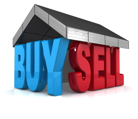 buen trato: Propiedad comprar y vender ilustraci�n de concepto dise�o 3d