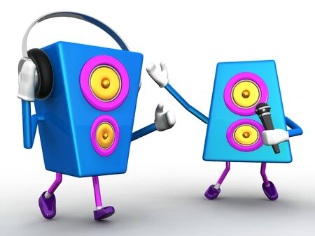 Colorful music speaker character singing and dancing 3d illustration Stock Illustration - 9035347