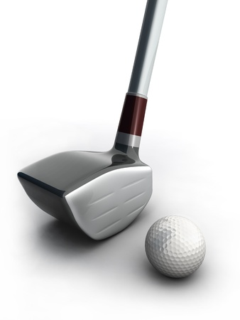 golf equipment: Golf equipment and golf ball on white background 3d illustration