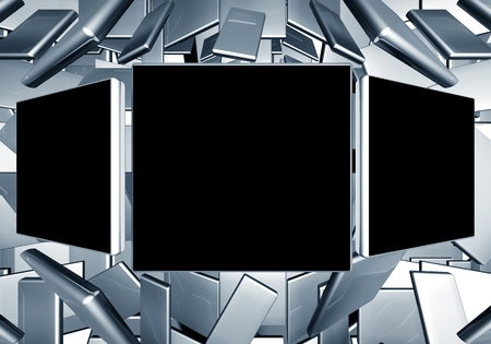 comtemporary: Photo frame with contemporary technology background 3d illustration Stock Photo