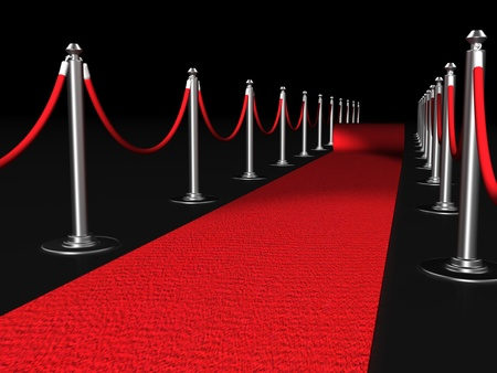 Red carpet night conept with fence 3d illustration