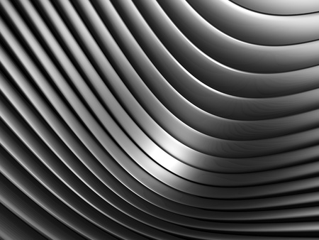 concave: Aluminum abstract silver curve stripe pattern background 3d illustration