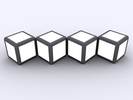 showreel: Cube display photo frame concept select white alpha to display image in white space Stock Photo