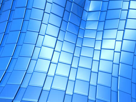 reiteration: Abstract blue metallic square pattern 3d illustration