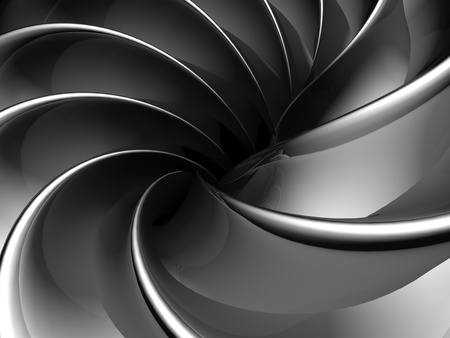 Abstract fan shape aluminum background 3d illustration illustration