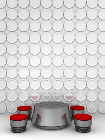 designer chair: Conceptual modern interior dining table and plates on the wall as background 3d illustration