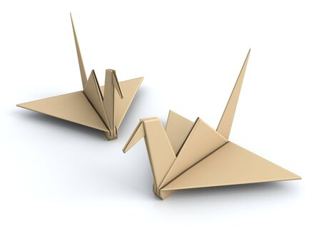 peace movement: Peace concept origami crane paper bird 3d illustration
