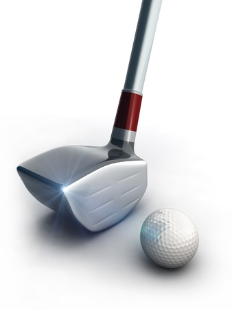 golf equipment: Golf equipment and golf ball with flares 3d illustration