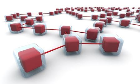 hi�rarchie: Business-structuur van het netwerk of verbinding begrip witte achtergrond 3d illustratie