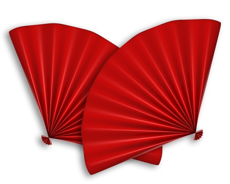 chinese fan: Red Chinese Fan 3d illustration isolated