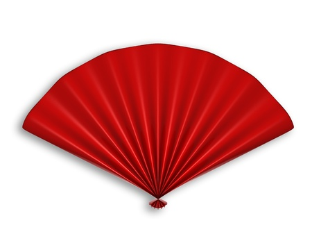 chinese art: Red Chinese Fan 3d illustration isolated